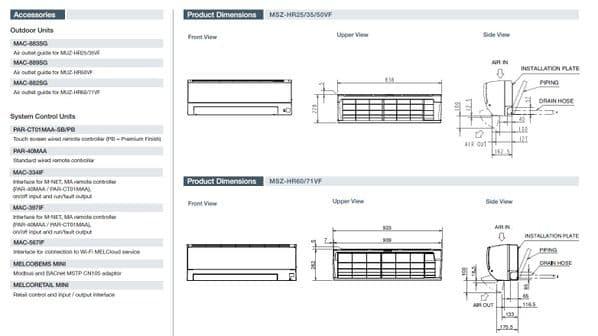 Mitsubishi Electric Air Conditioning MSZ-HR25VF Classic Wall Mounted 2.5Kw/9000Btu R32 A+ 240V~50Hz